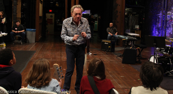 Andrew Lloyd Webber speaks with some School of Rock auditionees