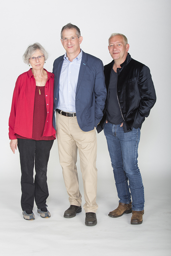 Book writer Sybille Pearson, director Barry Edelstein, and composer and lyricist Mich Photo
