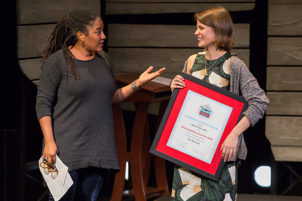 Lynn Nottage presents Sarah DeLappe with the 2015 Relentless Award