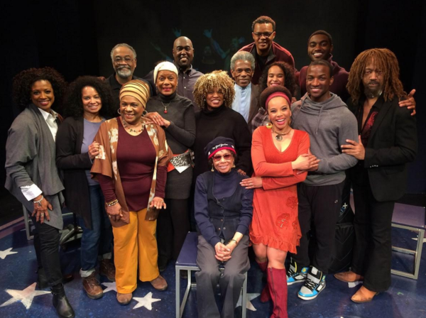 The Full Company joined by Micki Grant (center), Hope Clark and Andre de Shields Photo