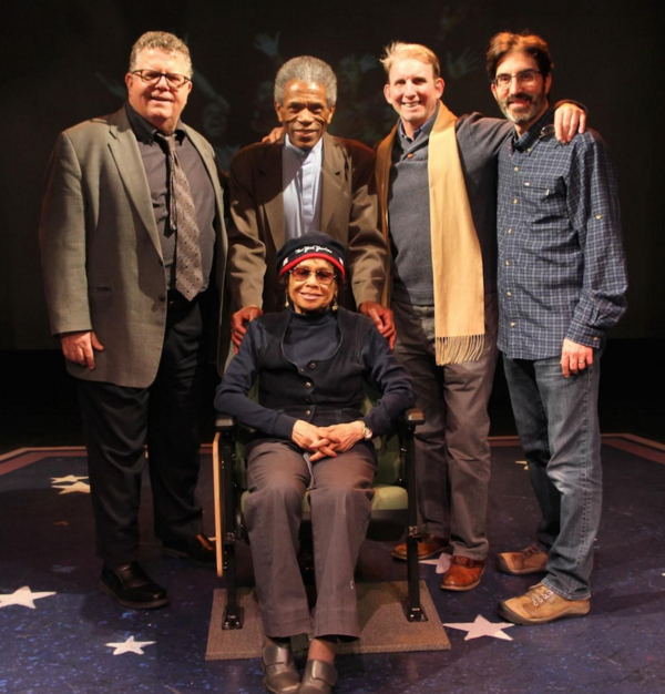 James Morgan, Andre de Shields, Micki Grant (seated), Evans Haile, and Michael Unger (York Associate Artistic Director)