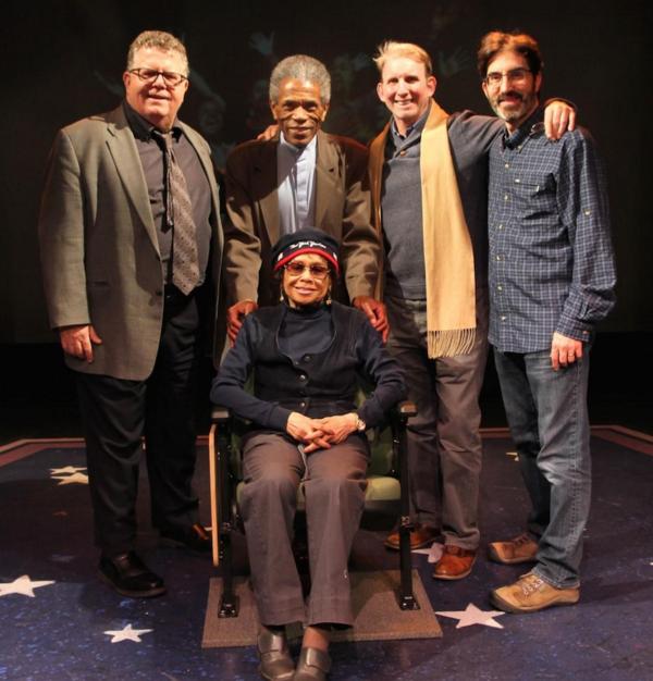 James Morgan, Andre de Shields, Micki Grant (seated), Evans Haile, and Michael Unger (York Associate Artistic Director)