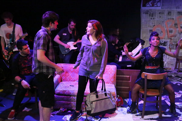 Gabe Taylor (seated) with Brendan Ochs as Will, Larissa White as Heather, and Cameish Photo