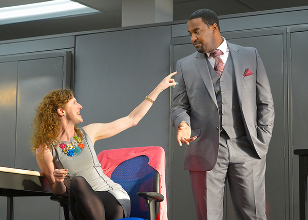 Farrah (Jessica Bates) and Bill (Ryan Vincent Anderson) discussing a favorite TV show.