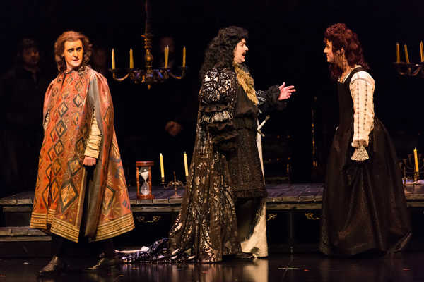 Federico De Michelis as Thomas Betterton, Chad Shelton as Charles II and Ben Edquist  Photo