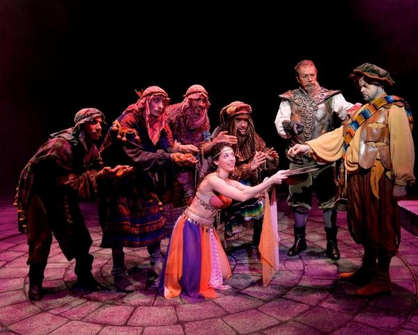 Paul Schoeffler (Don Quixote), Gary Marachek (Sancho), Gabriella Perez (center) and the ensemble performs ''The Moorish Dance.''
