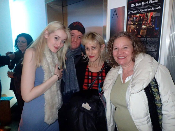 Actor Gus Birney (left) celebrates the CONNECTED opening night at 59E59''s E:Bar with her brother Ephraim Birney, her mother Constance Schulman, and friend Jody Prusan