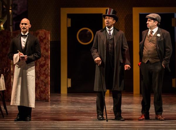 Lawrence E. DiStasi (Cabman/Rudolph), Allen Gilmore (Horace Vandergelder) and Marc Grapey (Malachi Stack)
