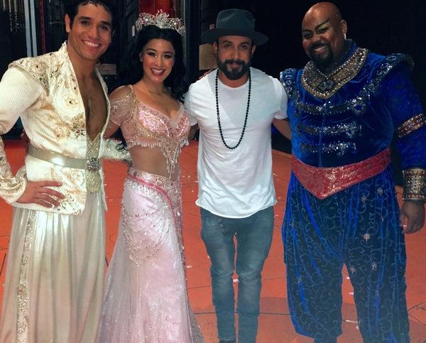 Backstreet Boy A.J. McLean with ALADDIN stars Adam Jacobs (Aladdin), Courtney Reed (Jasmine) and Tony winner James Monroe Iglehart (Genie).