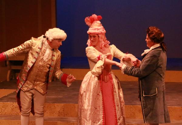 Luke Walker as Mozart, Melissa Fenwick as Constanze, Nelsen Spickard as Salieri