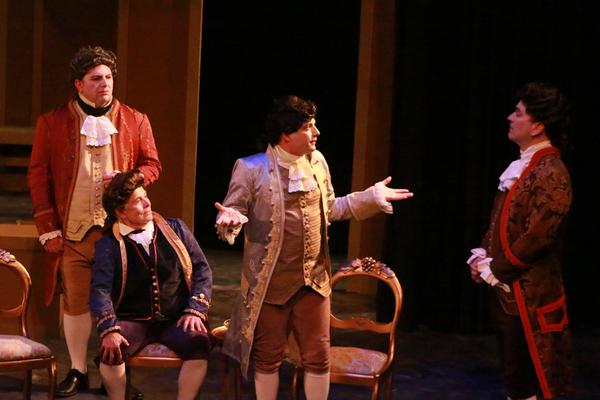 Ron Mackley as Count Von Strack, Nelsen Spickard as Salieri, Luke Walker as Mozart, Rob Burke as Baron Van Swieten