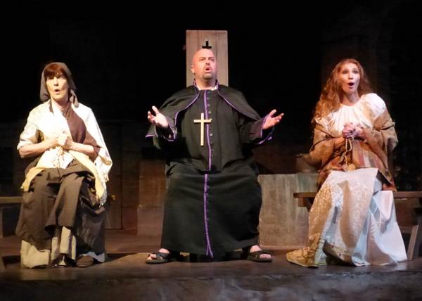 "The housekeeper, Padre, and Antonia sing about their woeful situation. �"" with Susan Stangl, Peter Miller and Kelsey Nisbett.  from left: Susan Stangl, Peter Miller, Kelsey Nisbett"