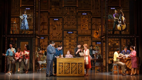 """Curt Bouril (""""Don Kirshner""""), Liam Tobin (Gerry Goffin), Abby Mueller (Carole King), Ben Fankhauser (Barry Mann), Becky Gulsvig (Cynthia Weil) and the company of BEAUTIFUL"""