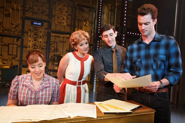 "Curt Bouril (""Don Kirshner�), Liam Tobin (Gerry Goffin), Abby Mueller (Carole King), Ben Fankhauser (Barry Mann) and Becky Gulsvig (Cynthia Weil)"