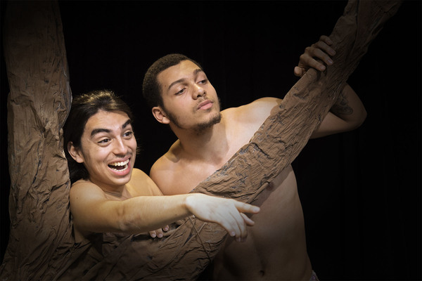 Theatre students Charles Acuna, left, as Puck and Christopher Ryan as Oberon.