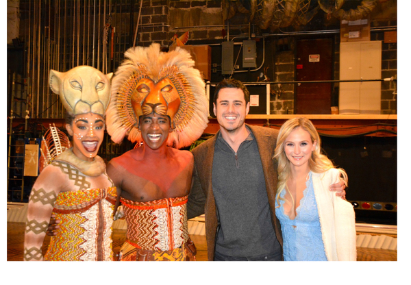 Ben Higgins, Lauren Bushnell and the some of the cast of The Lion King