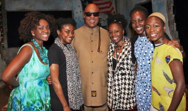 Saycon Sengbloh, Pascale Armand, Stevie Wonder, Akosua Busia, Lupita Nyong'o, Zainab Jah. Photo Credit: Lisa Pacino