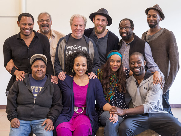 (back row) Cast members Larry Powell, Roger Robinson, Michael McKean, Josh Wingate, Russell G. Jones and Julian Rozzell Jr.; (front row) Patrena Murray, Tonye Patano, Sameerah Luqmaan-Harris and Sterling K. Brown