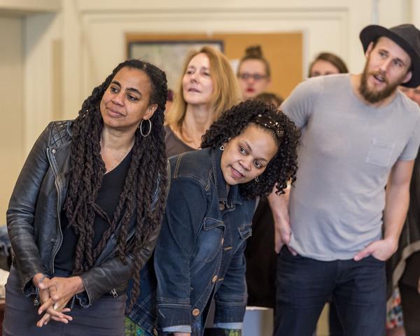 Playwright Suzan-Lori Parks, director Jo Bonney (background) and cast members Tonye Patano and Josh Wingate