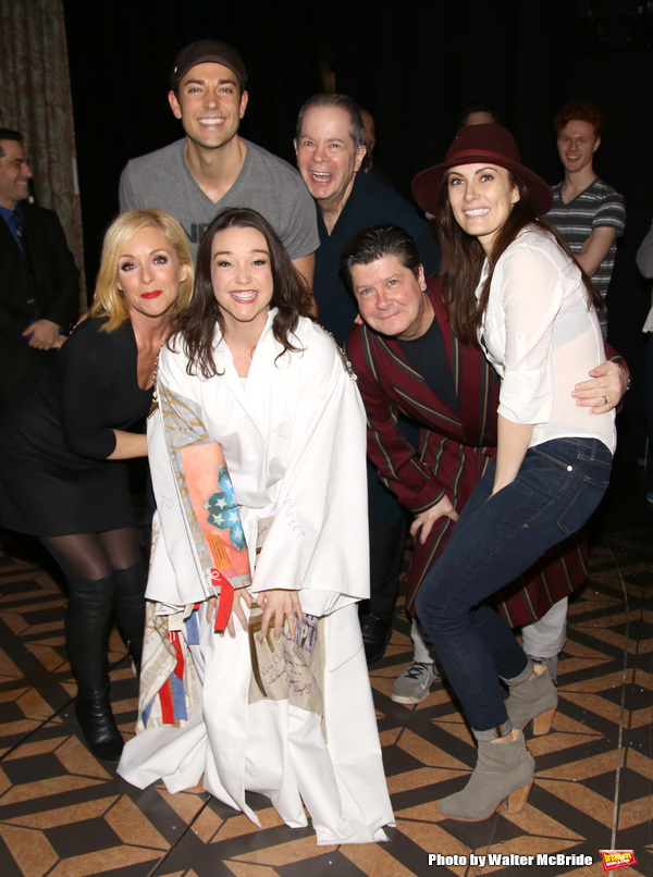 Cameron Adams with Jane Krakowski, Zachary Levi, Peter Bartlett, Cavin Creel,  Michael McGrath and Laura Benanti