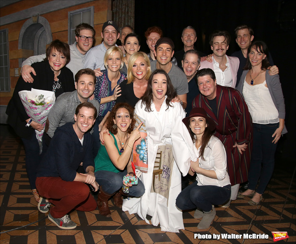 Cameron Adams with Jane Krakowski, Zachary Levi, Nicholas Barasch, Peter Bartlett, Byron Jennings, Cavin Creel, Michael McGrath and Laura Benanti with cast