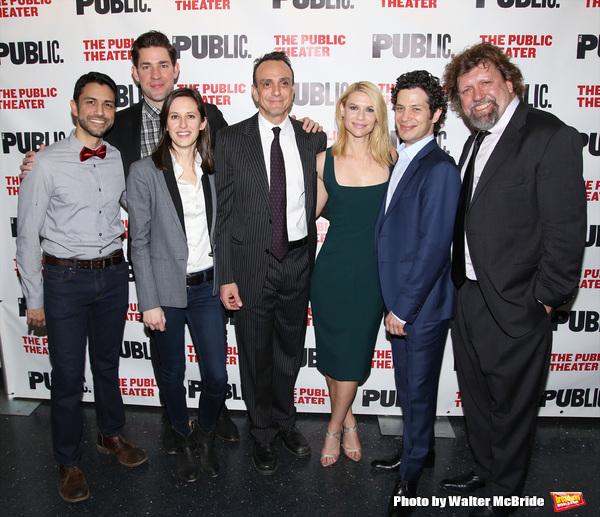 Sanjit De Silva, John Krasinski, Sarah Burgess, Hank Azaria, Claire Danes, director Thomas Kail and Public Theater artistic director Oskar Eustis