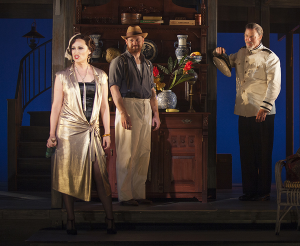 (from left) Eden Espinosa as Sadie Thompson, Jeremy Davis as Jo, and Mike Sears as Quartermaster