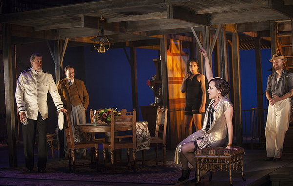 Eden Espinosa (front) with (from left) Mike Sears as Quartermaster, Tally Sessions as Alec MacPhail, Jared Zirilli as Alfred Davidson, and Jeremy Davis as Jo