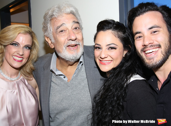 Raquel Suarez-Groen, Placido Domingo, Samarie Alicea and David Castillo backstage at the opera Â¡Figaro! (90210) at the New Duke 42nd Street on March 30, 2016 in New York City.