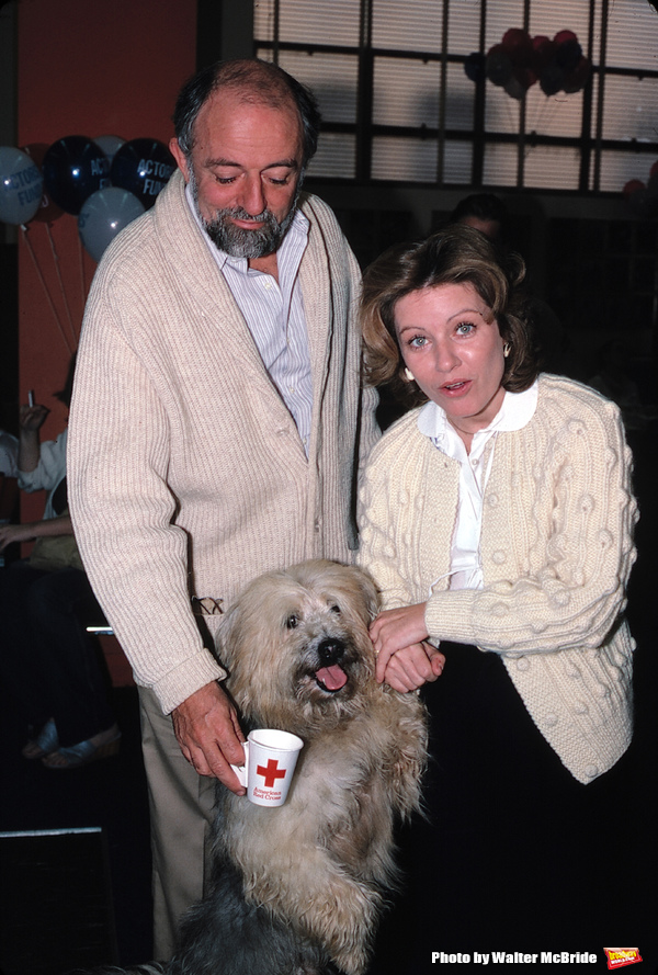 Patty Duke with her husband John Astin with  Dog Attending a Blood Drive at the Actors Fund in Los Angeles, California onSeptember 1982.