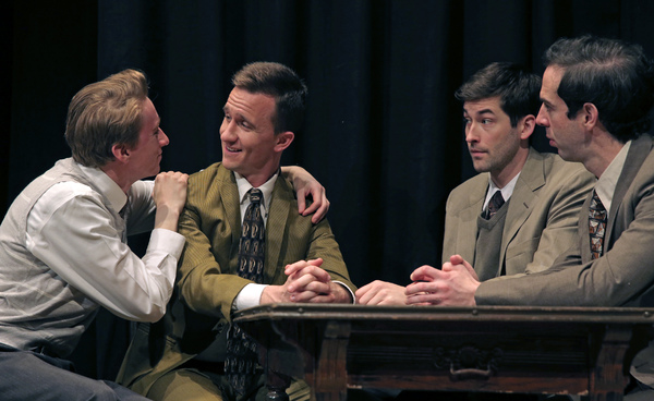 Thomas Campbell as Eddie, Chris Davis as Dore, Conor Riordan Martin as Irving and Michael Wood as Moss Hart