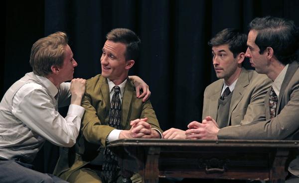 Thomas Campbell as Eddie, Chris Davis as Dore, Conor Riordan Martin as Irving and Michael Wood as Moss Hart