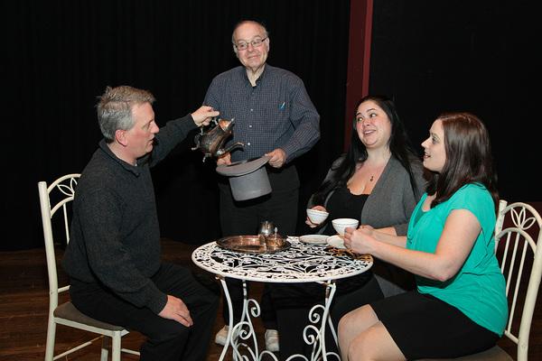 Lord Fancourt Babberly (Steve Dincau), Stephen Spettigue (Ira Rappaport), Kitty Verdun (Jilly Harris) and Amy Spettigue (Eileen Daub) having tea in the garden.