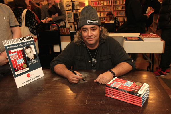Pulitzer prize-winning playwright Stephen Adly Guirgis signing copies of his plays at the Drama Book Shop in New York.