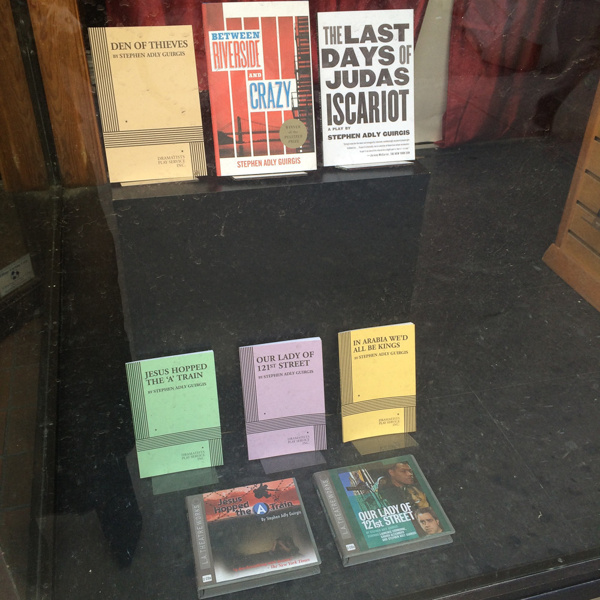 Plays by Stephen Adly Guirgis on display in the window of the Drama Book Shop in New York.