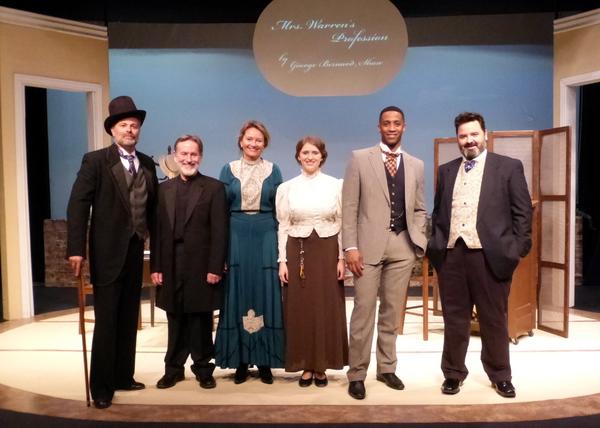 The cast of Mrs. Warren's Profession: From left: Frank Krueger, Ken MacFarlane, Susan Hardie, Jenny Tovey, Brooks Darnell, Craig Jessen