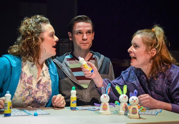 LeeAnna Lambert (Jean) and Liane LeMaster (Dottie) argue across Jeffrey Sneed (Stevie) during a heated bingo game