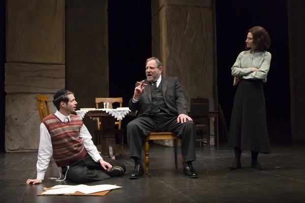 Miles G. Jackson as Asher Lev, Bob Ari as Yitzchok Lev, and Lena Kaminsky as Rivkeh Lev