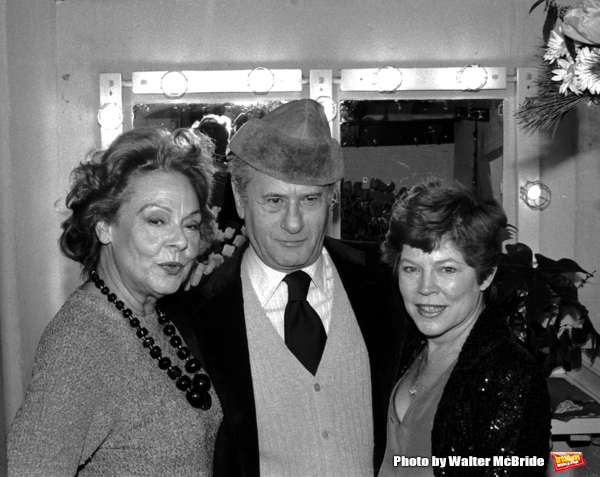 Eli Wallach & Anne Jackson visit Irene Worth starring in  Ibsen's ''John Gabriel Borkman.'' Backstage on Opening Night at Circle in the Square Theatre inNew York City. 12/18/1980