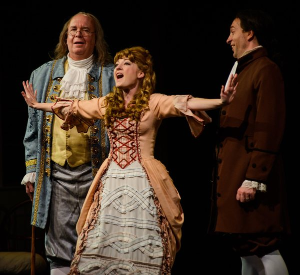 Meredith Beck as Martha Jefferson as Ben Franklin and John Adams look on Photo