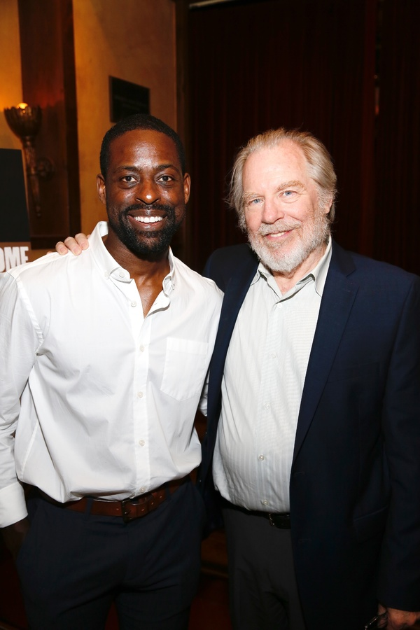 "From left, cast members Sterling K. Brown and Michael McKean pose during the party for the opening night performance of ""Father Comes Home From The Wars (Parts 1, 2 & 3)"" at Center Theatre Group/Mark Taper Forum on Sunday, April 17, 2016, in Los Angeles,"