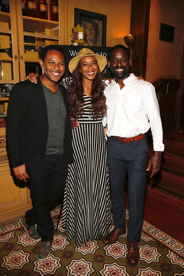 "From left, cast members Larry Powell, Sameerah Luqmaan-Harris and Sterling K. Brown pose during the party for the opening night performance of ""Father Comes Home From The Wars (Parts 1, 2 & 3)"" at Center Theatre Group/Mark Taper Forum on Sunday, April 17,"