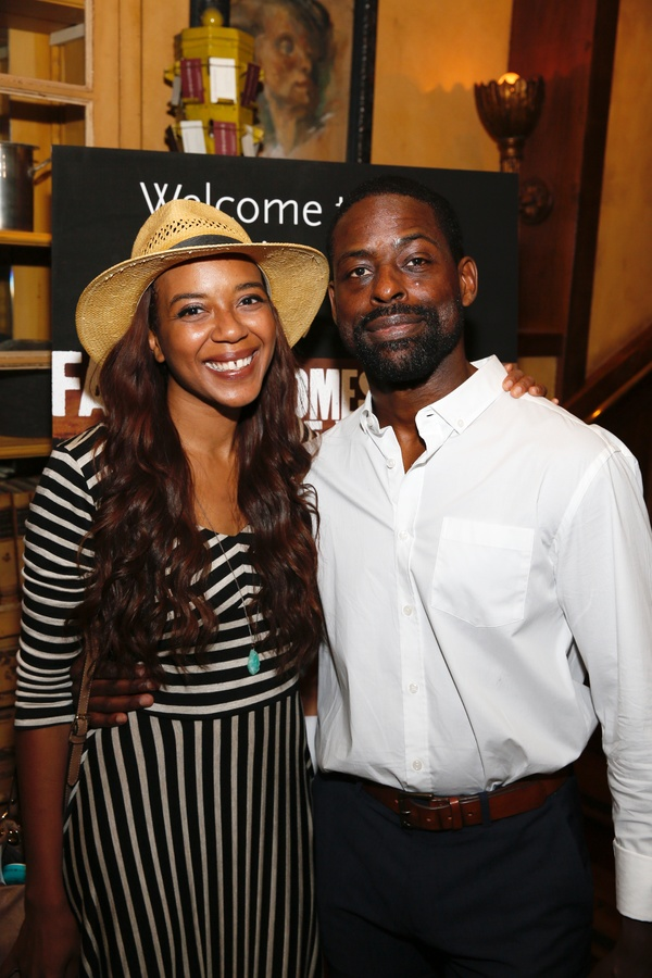 "From left, cast members Sameerah Luqmaan-Harris and Sterling K. Brown pose during the party for the opening night performance of ""Father Comes Home From The Wars (Parts 1, 2 & 3)"" at Center Theatre Group/Mark Taper Forum on Sunday, April 17, 2016, in Los"
