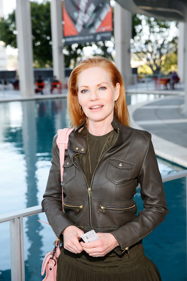 "Actress Marg Helgenberger arrives for the opening night performance of ""Father Comes Home From The Wars (Parts 1, 2 & 3)"" at Center Theatre Group/Mark Taper Forum on Sunday, April 17, 2016, in Los Angeles, California. (Photo by Ryan Miller/Capture Imaging"