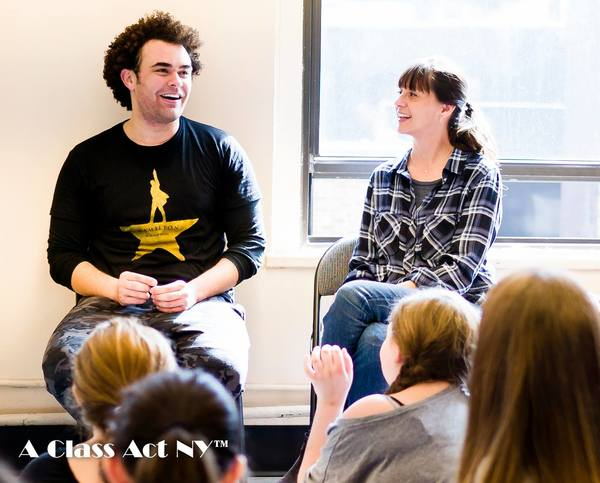 HAMILTON's Andrew Chappelle and A Class Act NY Artistic  Jessica Rofe in a discussion with students