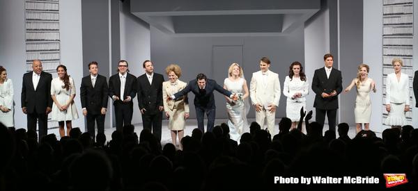 Theo Stockman, Alice Ripley, Benjamin Walker, Helene Yorke, Drew Moerlein and Jennifer Damiano with the cast