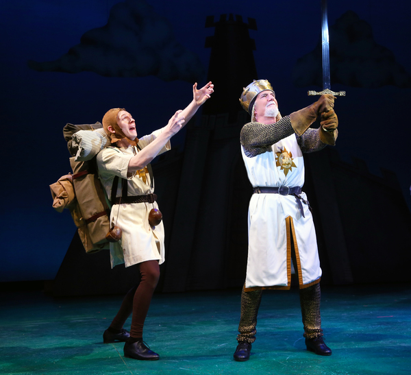 Gavin McNicholl (Patsy) and Richard Kline (King Arthur)