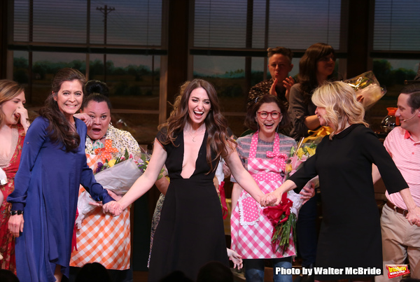 Diane Paulus, Sara Bareilles and Jessie Nelson with the cast