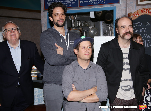 Dakin Matthews, Nick Cordero, Christopher Fitzgerald and Eric Anderson during the Actors' Equity Gypsy Robe Ceremony honoring Charity Angel Dawson for 'Waitress' at the Brooks Atkinson Theatre on April 24, 2016 in New York City.