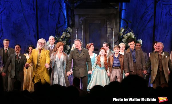 Terrence Mann, Carolee Carmello, Michael Park, Sarah Charles Lewis, Andrew Keenan-Bolger, Robert Lenzi and Fred Applegate with the cast